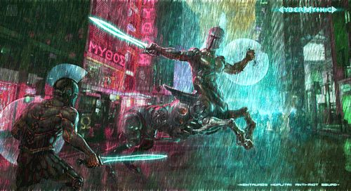Kentauros Hoplitai: anti-riot squad - cybermythica.com #cybermythica #cyberpunk #mythology