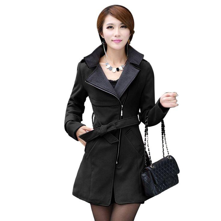 Damen Mantel aus feste Wollenmischung lange Graben-Oberkleidung mit Gurt Wintermantel Tops: Amazon.de: Bekleidung