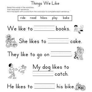 Fill in the Blank Worksheets Reading worksheets, 1st
