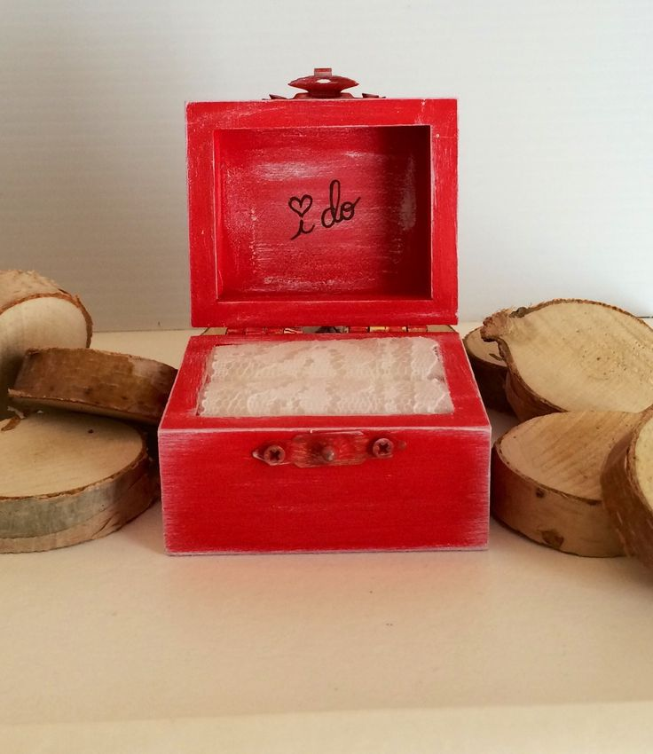 Rustic chic I DO ring bearer box - #12 True Red - The Wedding Faire