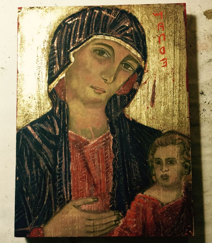 Religious Icon - Cimabue's Madonna. Egg Tempera on wood. Impression by: Marie Lardino. At: Accademia D'Arte, Florence.