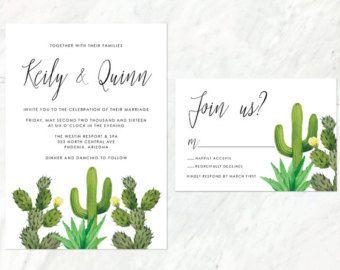 Cactus Wedding Menu Desert Wedding Menu by AlexaNelsonPrints