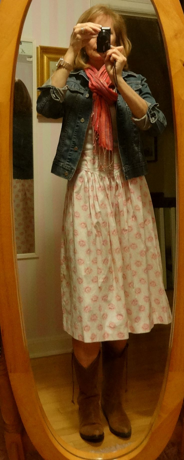 dressing over 50- cowboy boots with cotton, midi sun dress ...