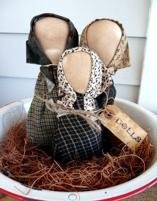 Primitive prairie church dolls bowl filler tuck by ahlcoopedup, $11.95