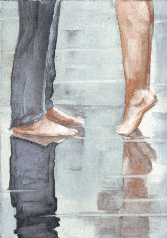 Original watercolor painting Reflections of a kissing by HelgaMcL