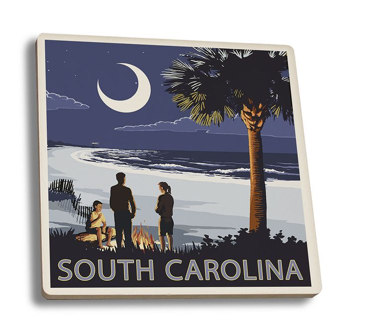 Coaster (South Carolina - Palmetto Moon - Lantern Press Artwork)