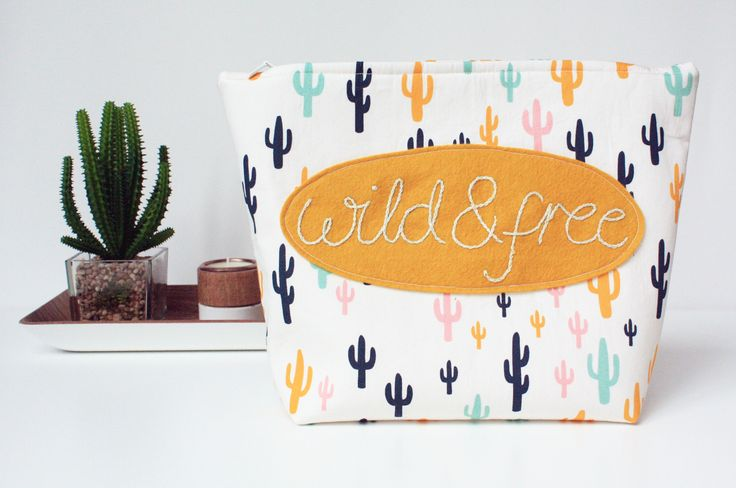 Perfect for Summer getaways, 'Wild & Free' wash bag with Cacti print