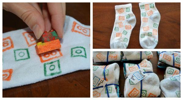 LEGO printed socks - fun favor for a LEGO party
