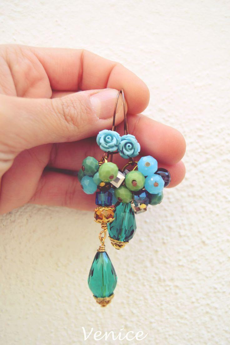 Orecchini cristallo/orecchini verdi/orecchini boho chic/orecchini fiore/orecchini autunno/gioielli boho/gioielli rose/gioielli fiori di VeniceStyle su Etsy