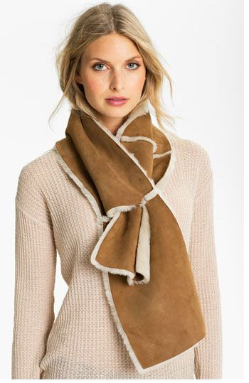 Four Panel Shearling Scarf from Ugg Australia. White Way Cleaners tells you how to keep warm in style in this week's article:  http://whitewaydelivers.socialtuna.com/keeping-warm-in-style/  #WhiteWay #DryCleaners #Style #Fashion #Scarves #Winter #WinterFashion #Gloves #Mittens #Coats #WomensOuterwear #MensOuterwear #Boots #FashionInspiration #Inspiration