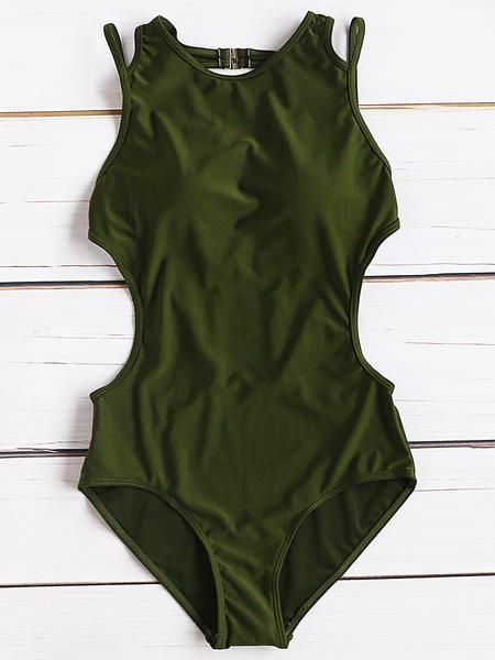 Army Green Side Cutout One-Piece Swimwear