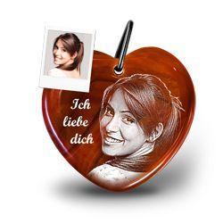 Echter Edelstein romantischer Schlüsselanhänger mit Fotogravur