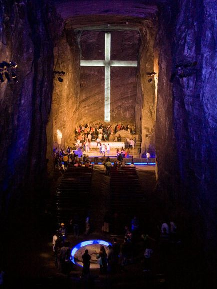 Salt Cathedral, Colombia- It is a underground cathedral made entirely of salt. Including the 17 ton altar.