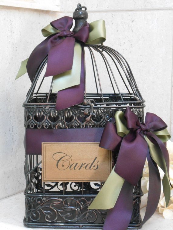 Wedding Card Holder Birdcage Cardholder Rustic Box Plum Eggplant Decor