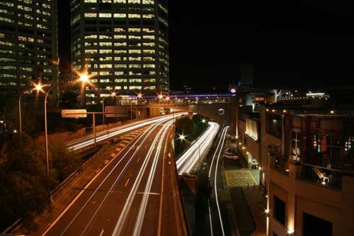 photograph of light trails taken with a slow 30 second shutter speed