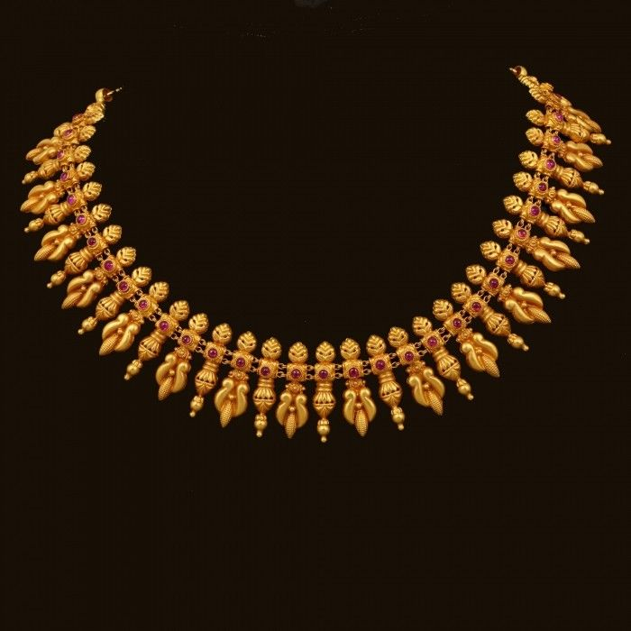 GOLD RED SPINEL NECKLACE  (VBJ-OW-GN-23) | Vummidi Bangaru Jewellers