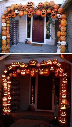 Attach FOAM PUMPKINS to make this illuminated PUMPKIN ARCH for a Spooky Entryway...these are the BEST Homemade Halloween Decorations & Craft Ideas!