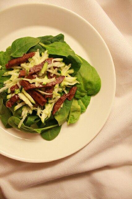 Spinach-Zucchini-Beef Cheek Salad
