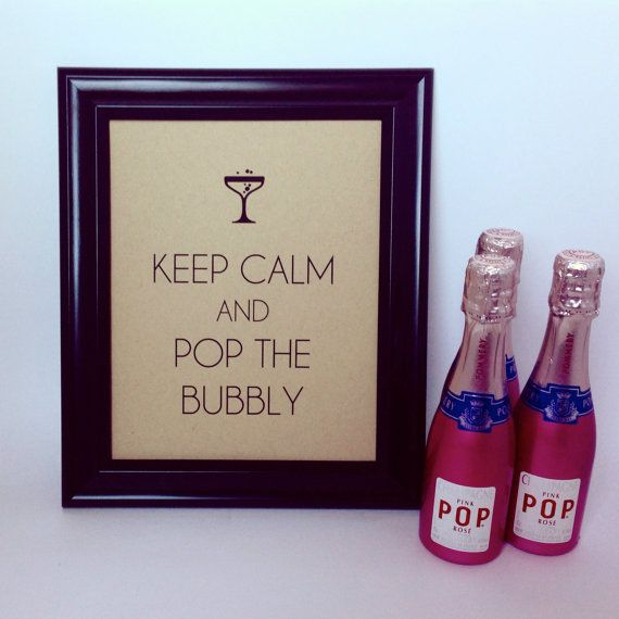 KEEP CALM Sign and Pop the BUBBLY – Art Deco Vintage Champagne Poster Cocktail T