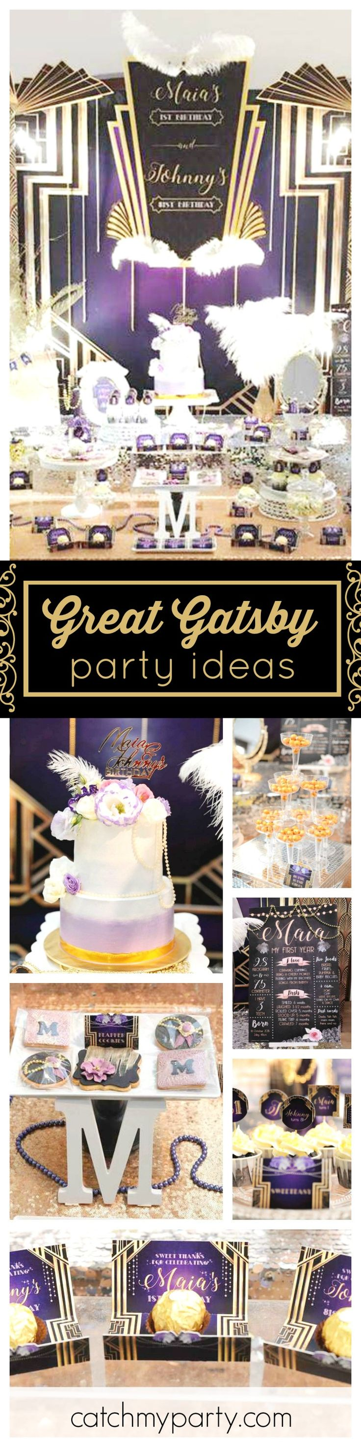 Go back to the glorious 20's with this amazing Great Gatsby Birthday party! The backdrop is fantastic!! See more party ideas and share yours at CatchMyParty.com
