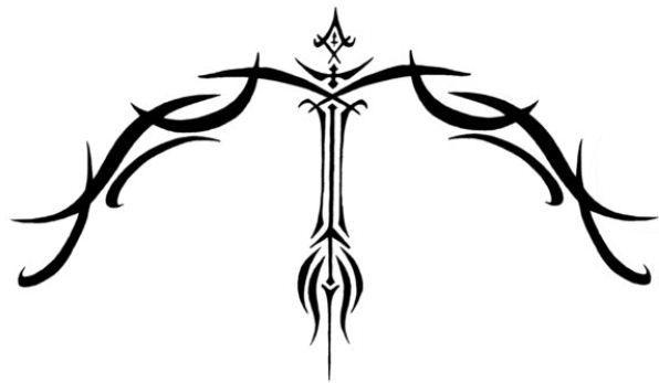 Disegno per tatuaggio segno zodiaco sagittario