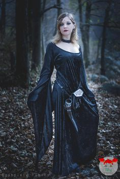 This dress is made from a high quality Stretch Crushed Velvet.  Its inspired to medieval outfit with long and wide skirt and beautiful wide