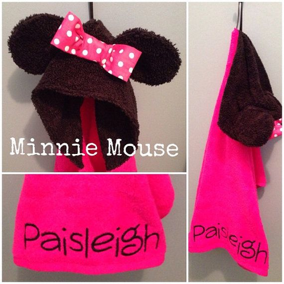 Infant Hooded Minnie Mouse Towel by LoveNicoleLynn on Etsy, $30.00 CHECK OUT HER ETSY!!!!