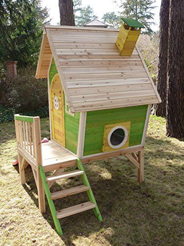 Kinderspielhaus Holz Rutsche ~ Kinderspielhaus Stelzenhaus aus Holz mit Rutsche