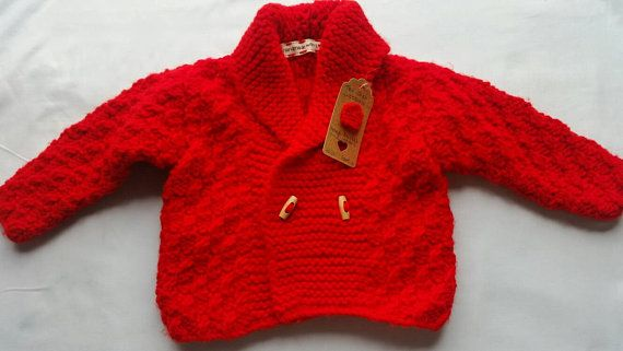 Boys hand knitted red jacket  cardigan age 1-2 years