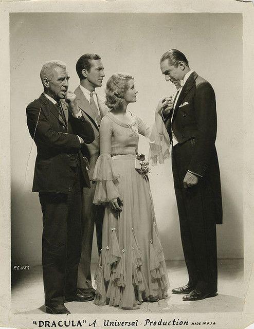 """Dracula"" cast: Edward Van Sloan (Van Helsing), David Manners (John Harker), Helen Chandler (Mina), Bela Lugosi (Dracula) (1931)"