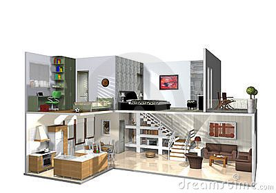 3d illustration of interior of cut-away modern two storied home, white background.