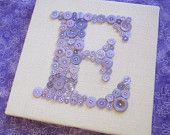 Baby Nursery Letter Art, LETTER E, Button Monogram, Children Wall Art, Wall Letter on Canvas or Ready-to-Frame (frame not included)