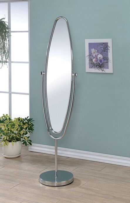 Vanilyn collection silver finish metal frame oval free for Silver framed floor mirror
