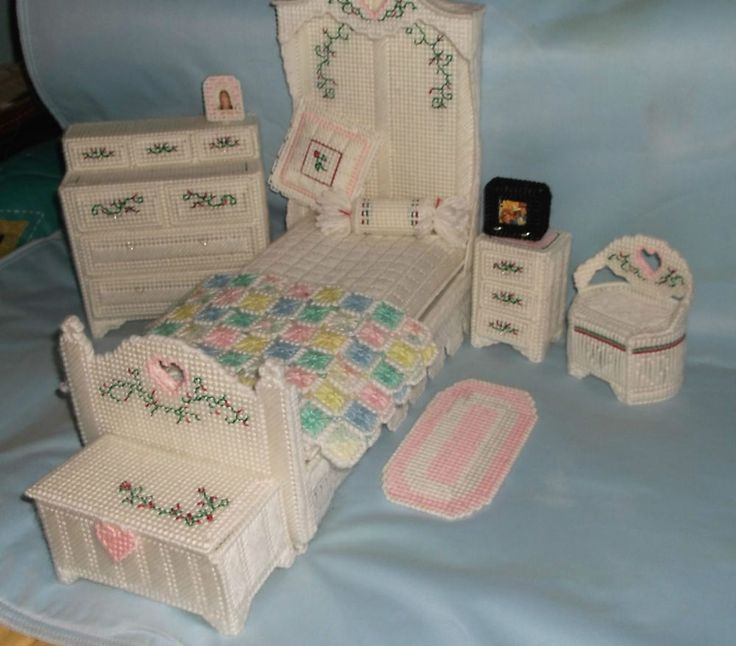 Fashion Doll Barbie Bedroom Set with Bed, Chest, Dresser, Night Stand, Chair, TV #Handmade