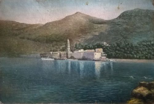 Panormitis-monastery-on-the-island-Symi-Greece-Vintage-Oil-Painting