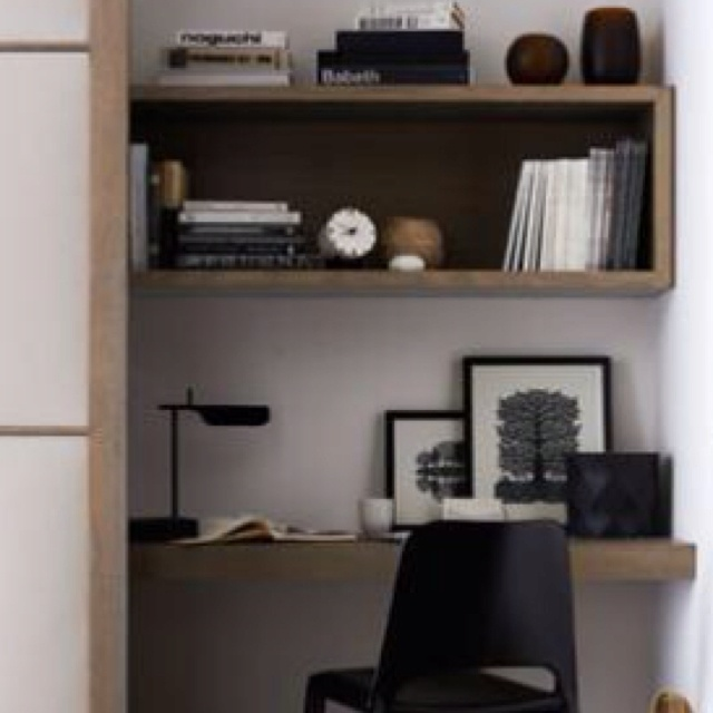 Contemporary style study nook. The natural wood floating desk, shelf, black and white details and accessories give it a masculine look. Looking for one of a kind photo art to decorate your interiors? Visit bx3foto.etsy.com