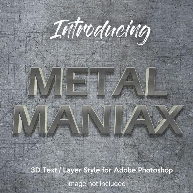 3d metal iron chrome photoshop layer style text effects Premium Psd | Premium Psd #Freepik #psd #flyer #mockup #vintage