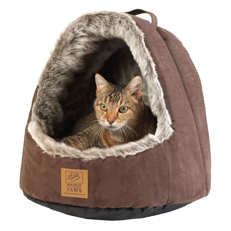 Faux Fur Cats Bed Hooded Brown Fabric Polyester Dogs Kittens Puppies Pets Cave