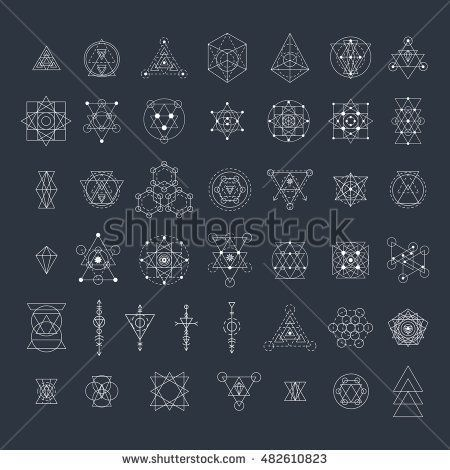 Sacred geometry signs collection. Linear modern art design elements set. Alchemy, religion, philosophy, spirituality, creativity, astrology, esoteric, hipster symbols. Vector illustration