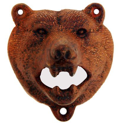 TreasureGurus Black Bear Bottle Opener Rustic Brown Cast Iron Wall Mount - Appliances - Small Kitchen Appliances - Electric Can Openers