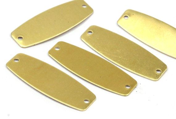 Brass Oval Connector 30 Raw Brass Connectors with 2 Holes