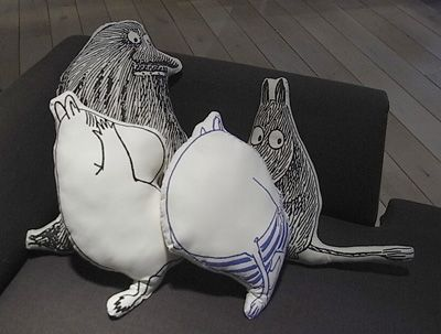 Moomin and Groke pillows.