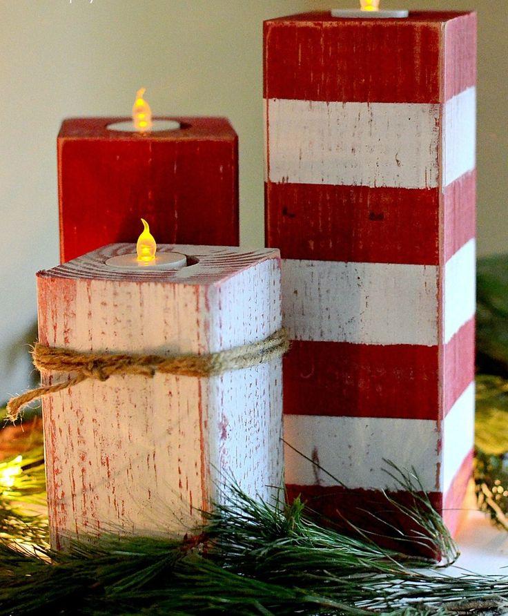 Wooden Peppermint Stick Artificial Candles | AllFreeHolidayCrafts.com