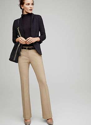 I like this look: all neutrals, clean. Haven't tried turtlenecks/mock necks in a while, might be worth a shot. Ann Taylor knit jacket (385563), sleeveless ribbed turtleneck (384035), devin refined flare trousers (376131)