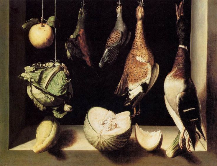 SANCHEZ COTÁN, Juan  Still-Life with Game Fowl  1600-03  Oil on canvas, 68 x 89 cm  Art Institute, Chicago