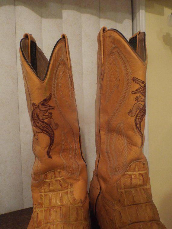 93ad5c217d8 Crocodile Boots Men's Vintage Cowboy Western Boots Size 7 1/2 by ...