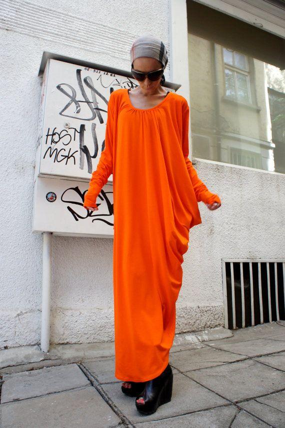 Orange Asymmetric Kaftan / Maxi Dress / Loose Extra by Aakasha, $79.00