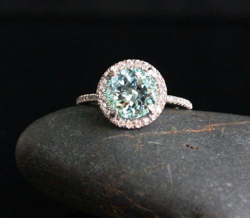 Aquamarine Engagement Ring Aquamarine Wedding by Twoperidotbirds
