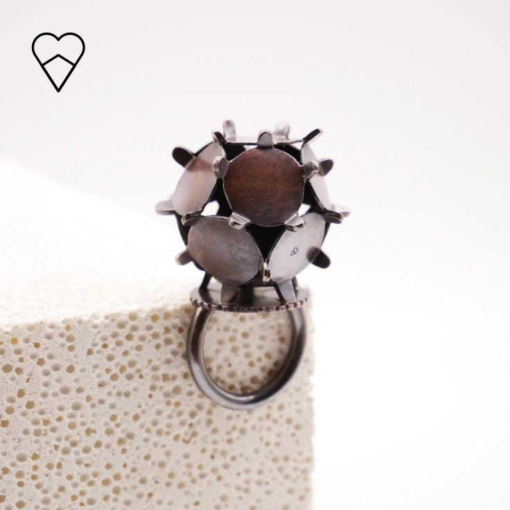 Dodecahedron ring in silver and copper.