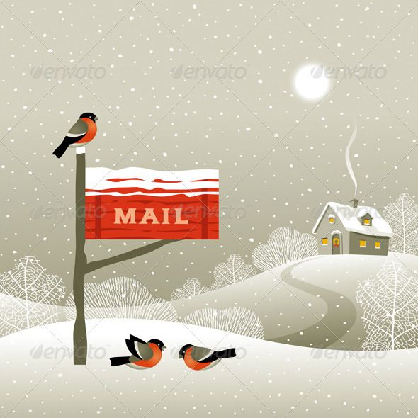Mailbox On The Forest Edge  Winter landscape with red mailbox, house and bullfinches.  EPS -8 vector illustration with clipping mask. Mailbox, house and bullfinches are grouped, fully editable and customizable. Text on this illustration is my handmade work and not editable.     Created: 24November12 GraphicsFilesIncluded: JPGImage #VectorEPS Layered: Yes MinimumAdobeCSVersion: CS